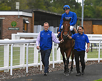 Winner of The Don Hewlett EBF Novice StakesLost in Time ridden by Hector Crouch and trained by Saeed bin Suroor is led into the Winners enclosure during Evening Racing at Salisbury Racecourse on 3rd September 2019