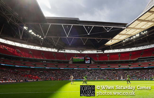 Tranmere Rovers 1 Forest Green Rovers 3, 14/05/2017. Wembley Stadium, Conference play off Final. Tranmere attacking the sunny end in injury time during the Vanarama Conference play off Final  between Tranmere Rovers v Forest Green Rovers at the Wembley. Photo by Paul Thompson.
