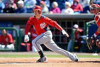 Washington Nationals outfielder Tyler Moore #12 during a Spring Training game against the Philadelphia Phillies at Bright House Field on March 6, 2013 in Clearwater, Florida.  Philadelphia defeated Washington 6-3.  (Mike Janes/Four Seam Images)