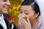 USA, Illinois, Metamora, Bride and groom laughing