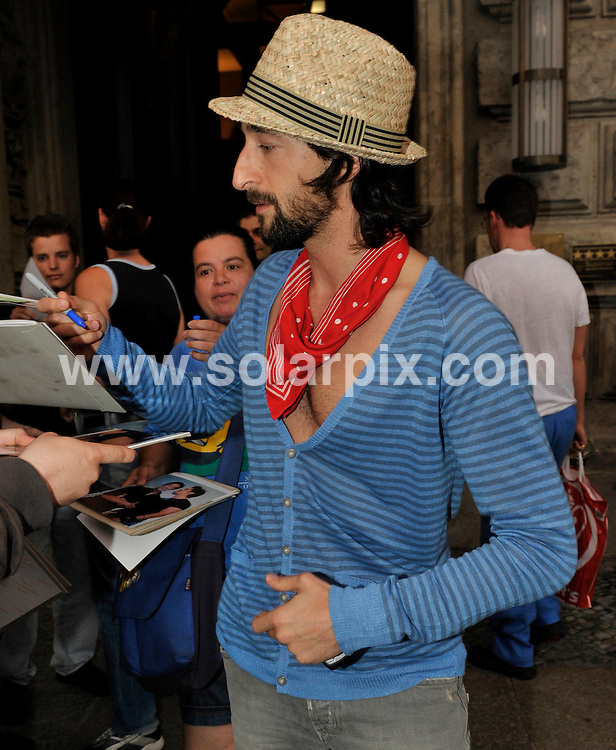 **ALL ROUND PICTURES FROM SOLARPIX.COM**.**SYNDICATION RIGHTS FOR UK AND SPAIN ONLY**.Adrien Brody leaving the Hotel de Rome during 2009 Mercedes Benz Fashion Week in Berlin, Germany. 02 July 2009..This pic: Adrien Brody..JOB REF: 9402 CPR (Grimm) DATE: 02_07_2009 .**MUST CREDIT SOLARPIX.COM OR DOUBLE FEE WILL BE CHARGED**.**ONLINE USAGE FEE GBP 50.00 PER PICTURE - NOTIFICATION OF USAGE TO PHOTO @ SOLARPIX.COM**.**CALL SOLARPIX : +34 952 811 768 or LOW RATE FROM UK 0844 617 7637**