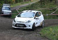 Kieran Renton / Carin Logan at Junction 6, on Special Stage 1 Craigvinean in the Colin McRae Forest Stages Rally 2012, Round 8 of the RAC MSA Scotish Rally Championship which was organised by Coltness Car Club and based in Aberfeldy on 5.10.12.