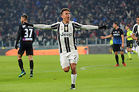 Calcio, Ottavi di finale di Tim Cup: Juventus vs Atalanta. Torino, Juventus Stadium, 11 gennaio 2017.<br /> Juventus&rsquo; Paulo Dybala celebrates after scoring during the Italian Cup football round of 16 match between Juventus and Atalanta at Turin's Juventus Stadium, 8 January 2017. Juventus won 3-2 to join the quarter finals.<br /> UPDATE IMAGES PRESS/Manuela Viganti