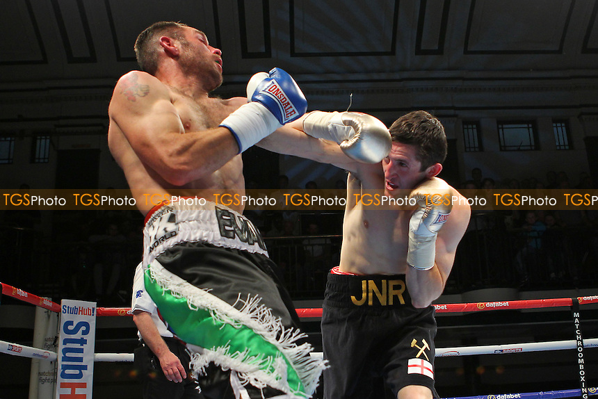 Michael O'Rourke (black shorts) defeats Michael Mooney - Boxing at York Hall, Bethnal Green, London, promoted by Matchroom Sports - 28/05/15 - MANDATORY CREDIT: Gavin Ellis/TGSPHOTO - Self billing applies where appropriate - contact@tgsphoto.co.uk - NO UNPAID USE