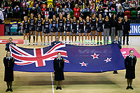 20.01.2019 Silver Ferns in action during the Silver Ferns v South Africa netball test match at the Copper Box Arena, London. Mandatory Photo Credit ©Michael Bradley Photography/Ben Queenborough.20.01.2019 Silver Ferns during the national anthem before the Silver Ferns v South Africa netball test match at the Copper Box Arena, London. Mandatory Photo Credit ©Michael Bradley Photography/Ben Queenborough.