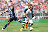 Santa Clara, CA - Sunday July 22, 2018: Andreas Pereira, Quincy Amarikwa during a friendly match between the San Jose Earthquakes and Manchester United FC at Levi's Stadium.