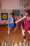 Amy Fitzgerald,Tralee Imperials drives along the base line toward the net with Cork's Nuig Mystics no14 Marine Airnault defending with Ailish O'Reilly on the wing when the sides met in Mounthawk,Tralee last Saturday night
