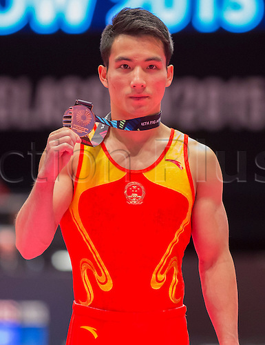 30.10.2015. Glasgow, Scotland. FIG Artistic Gymnastics World Championships. Day Eight. Shudi DENG (CHN) 2014 World Championships Team Gold Medallist poses after receiving his Bronze Medal in the Men's All-Around final.