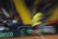 BOGOTÁ - COLOMBIA, 01-02-2019:Daniel Elahi Galán tenista de Colombia en acción contra Mikael  Ymer tenista  de Suecia durante el primer encuentro por los Qualifiers de la Copa Davis por BNP Paribas buscando un cupo para las finales en Madrid jugado en la cancha del Palacio de los Deportes./ Daniel Elahi Galán tennis player from Colombia in action against Mikael Ymer, tennis player from Sweden during the Davis Cup Qualifiers firts match by BNP Paribas looking for a place for the finals in Madrid played in the Palace of Sports court. Photo: VizzorImage / Felipe Caicedo / Staff.