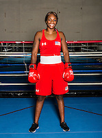 USA Olympic Boxer Claressa Shields at the The U.S. Olympic Complex training facility in Colorado Springs, Colorado, Tuesday, July 5, 2016. Shields became the first U.S. woman to win a boxing gold medal at the 2012 London Olympic games and hope to repeat with a gold medal at the 2016 Olympic games in Brazil.<br /> <br /> Photo by Matt Nager