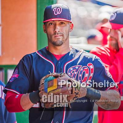 23 May 2015: Washington Nationals shortstop Ian Desmond walks the dugout as he prepares to face the Philadelphia Phillies at Nationals Park in Washington, DC. The Phillies defeated the Nationals 8-1 in the second game of their 3-game weekend series. Mandatory Credit: Ed Wolfstein Photo *** RAW (NEF) Image File Available ***