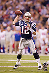 New England Patriots quarterback Tom Brady (12) throws a pass during the NFL Super Bowl XLVI football game against the New York Giants on Sunday, Feb. 5, 2012, in Indianapolis. The Giants won 21-17 (AP Photo/David Stluka)...