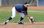 UC Davis second baseman Tino Lipson makes a play in a college baseball game against University of Washington in Davis, Ca., on Saturday, Feb. 16, 2013. Davis won the opener 6-5 and dropped the second game 3-2..Photo by Cathleen Allison
