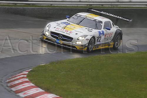 17.05.2013. Nürburg, Rhineland-Palatinate, Germany.  Klaus Graf Thomas Jaeger Jan Seyffarth Nico Bastian Rowe Racing Mercedes Benz SLS GT3  at the 24 hours endurance Race Nurburgring 2013
