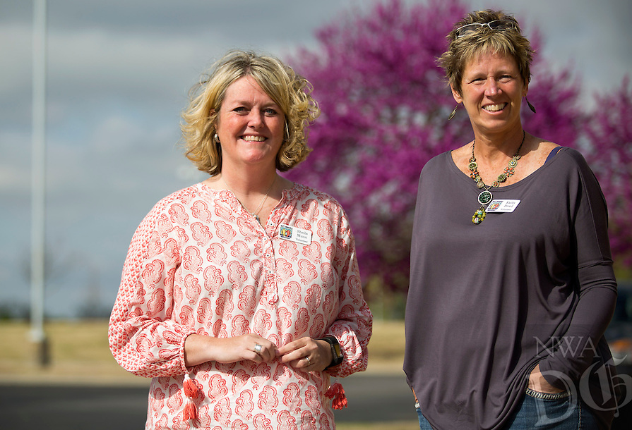 NWA Democrat-Gazette/JASON IVESTER<br /> SHeila Munn (left) and Kathy Breed, volunteers; photographed on Thursday, March 31, 2016, in Bentonville for spotlight on Best Buddies Arkansas