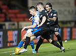 St Johnstone v Rangers&hellip;13.10.17&hellip;  McDiarmid Park&hellip;  SPFL<br />Graham Cummins is closed down by Declan John and Carlos Pena<br />Picture by Graeme Hart. <br />Copyright Perthshire Picture Agency<br />Tel: 01738 623350  Mobile: 07990 594431