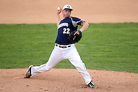 April 15,2010:  Pitcher Zach Leitten of the Genesee Community College (GCC) Cougars Men's Baseball Team delivers a pitch vs. Alfred State at Dwyer Stadium in Batavia, NY.  Photo Copyright Mike Janes Photography 2010