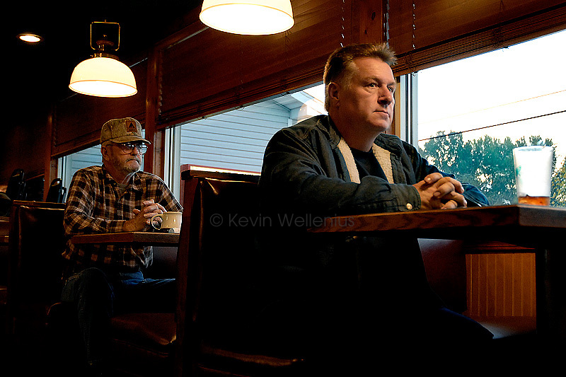 Don Yates, left, of Slaughters, Ky., and Roger Gressley, of Madisonville, Ky., eat breakfast at Tucker's Cafe on East Center Street in Madisonville, Ky.