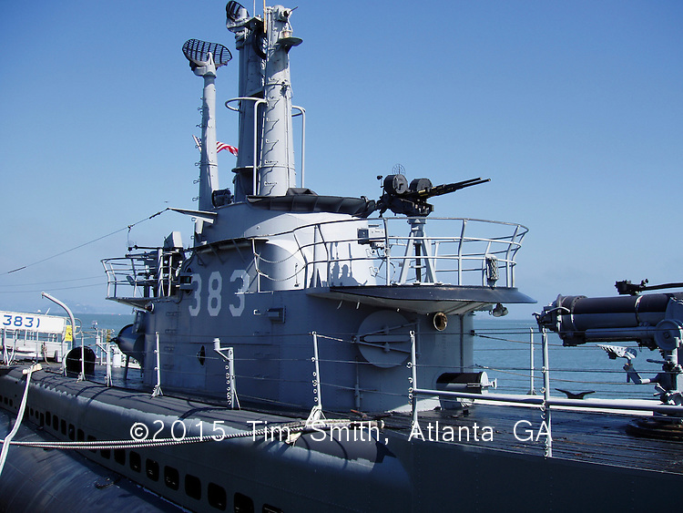 USS Pampanito Submarine -- Con tower and machine gun, restored and docked near San Francisco, California.