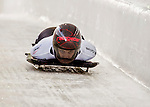 8 January 2016: Janine Flock, competing for Austria, crosses the finish line on her first run of the BMW IBSF World Cup Skeleton race at the Olympic Sports Track in Lake Placid, New York, USA. Mandatory Credit: Ed Wolfstein Photo *** RAW (NEF) Image File Available ***