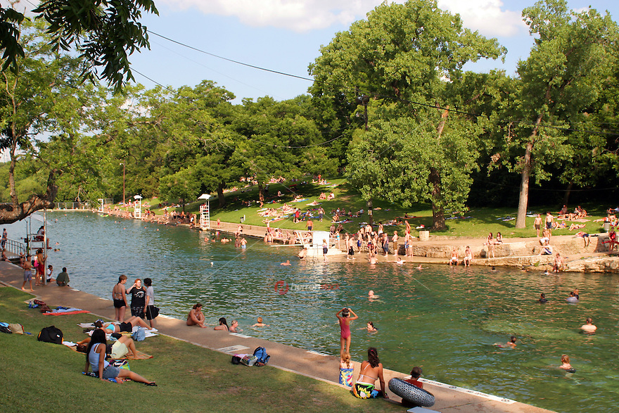 Swimming Is Popular Year Round At Barton Springs Swimming Pool In Austin Texas Usa