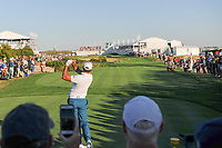 Jason Day (AUS) watches his tee shot on 16 during round 1 foursomes of the 2017 President's Cup, Liberty National Golf Club, Jersey City, New Jersey, USA. 9/28/2017.<br /> Picture: Golffile   Ken Murray<br /> ll photo usage must carry mandatory copyright credit (&copy; Golffile   Ken Murray)