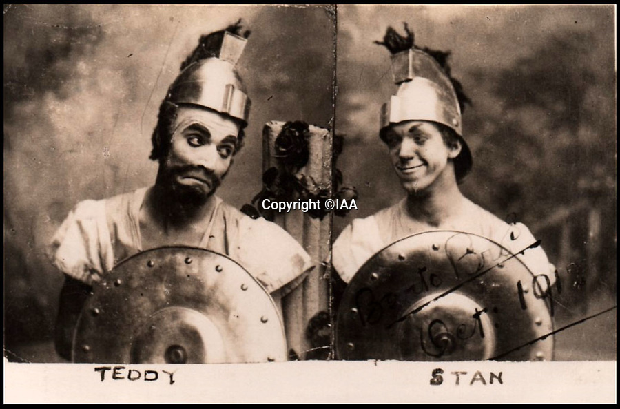 BNPS.co.uk (01202 558833)<br /> Pic: IAA/BNPS<br /> <br /> Stan and Ted Desmond on stage in England before Stan went West in 1913.<br />  <br /> Heart-warming letters and photos Stan Laurel sent his first comedy sidekick who he stayed friends with after forming his iconic double-act with Oliver Hardy have emerged.<br /> <br /> Ted Desmond and Laurel, known then by his real name Stan Jefferson, briefly worked together on tour in Netherlands and Belgium in 1912 but they parted ways when Laurel was offered a spot in an American touring troupe.<br /> <br /> It would have been easy for Laurel to forget his first, short-lived sidekick, or for Ted to have been jealous of his success with another comic.<br /> <br /> But, touchingly, they remained firm friends and Laurel sent Ted and his wife Gertrude various letters and photos over the next 40 years.