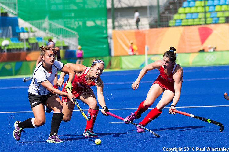 Alyssa Manley #29 of United States and Michelle Vittese #9 of United States double team during USA vs Germany in a women's quarterfinal game at the Rio 2016 Olympics at the Olympic Hockey Centre in Rio de Janeiro, Brazil.