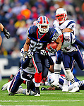 28 December 2008: Buffalo Bills' running back Fred Jackson gains 13 yards in the first quarter against the New England Patriots at Ralph Wilson Stadium in Orchard Park, NY. The Patriots kept their playoff hopes alive defeating the Bills 13-0 in their 16th win against Buffalo of their past 17 meetings. ***** Editorial Use Only ******..Mandatory Photo Credit: Ed Wolfstein Photo