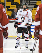 Anthony Bitetto (Northeastern - 7) - The Harvard University Crimson defeated the Northeastern University Huskies 3-2 in the 2012 Beanpot consolation game on Monday, February 13, 2012, at TD Garden in Boston, Massachusetts.