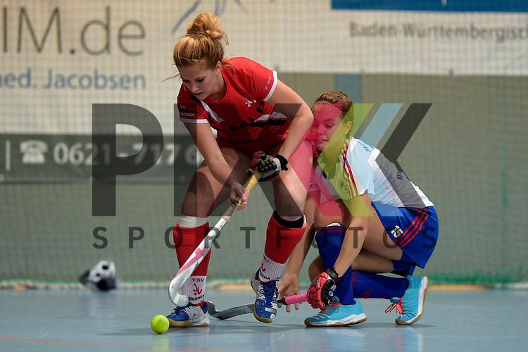 GER - Mannheim, Germany, December 05: During the 1. Bundesliga Sued Damen indoor hockey match between Mannheimer HC (white) and TSV Mannheim (red) on December 5, 2015 at Irma-Roechling-Halle in Mannheim, Germany. Final score 7-1 (HT 5-0).  Noelle Hahl #7 of TSV Mannheim, Kira Schanzenbecher #15 of Mannheimer HC<br /> <br /> Foto &copy; PIX-Sportfotos *** Foto ist honorarpflichtig! *** Auf Anfrage in hoeherer Qualitaet/Aufloesung. Belegexemplar erbeten. Veroeffentlichung ausschliesslich fuer journalistisch-publizistische Zwecke. For editorial use only.