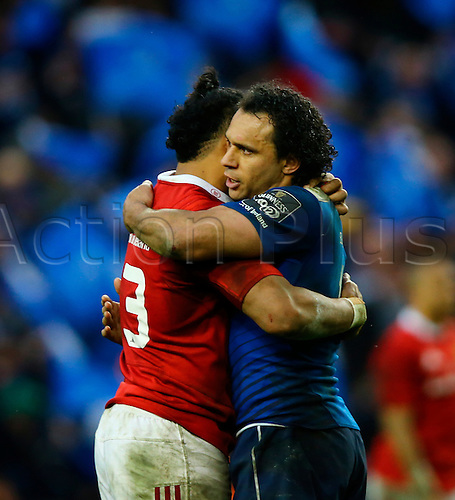 02.04.2016. Aviva Stadium, Dublin, Ireland. Guinness Pro12.  Leinster versus Munster. Francis Saili (Munster) and Isa Nacewa (Captain Leinster)  hug after the game.