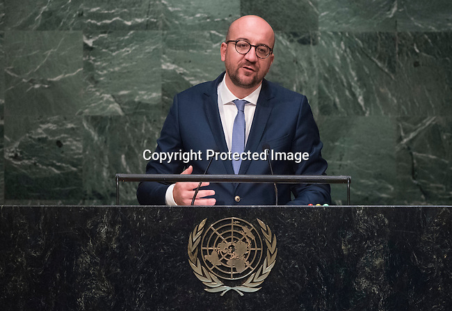 His Excellency Charles Michel, Prime Minister of the Kingdom of Belgium   <br /> General Assembly Seventieth session 9th plenary meeting: High-level plenary meeting of the (6th meeting)