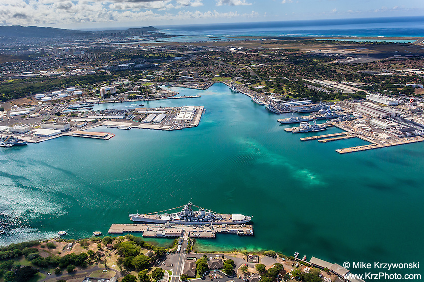 Aerial view of the USS Missouri battleship, Pearl Harbor, Oahu