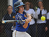 Sara Polansky #10 of East Meadow swings at a pitch in the bottom of the third inning of Game 2 of the Nassau County varsity softball Class AA semifinals against Massapequa East Meadow High School on Tuesday, May 17, 2016. She gave East Meadow the lead with a three-run triple later in the game to lead the Jets to a 13-6 win.