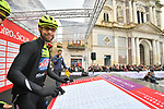 Neri Sottoli–Selle Italia–KTM at sign on before the start of Stage 3 of Il Giro di Sicilia running 186km from Caltanissetta to Ragusa, Italy. 5th April 2019.<br /> Picture: LaPresse/Massimo Paolone | Cyclefile<br /> <br /> <br /> All photos usage must carry mandatory copyright credit (© Cyclefile | LaPresse/Massimo Paolone)