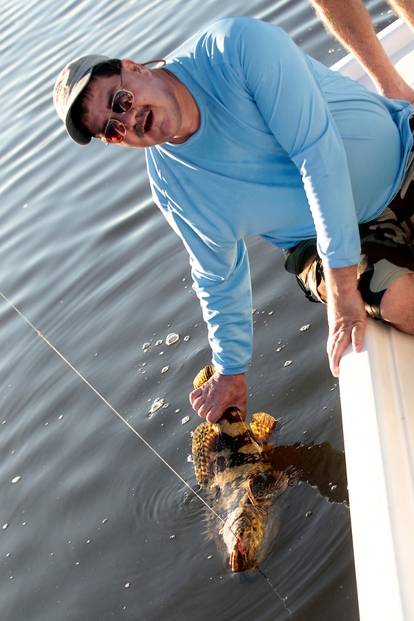 Steve Scalish with a nice sized Jew Fish in Florida's Everglades National Park out of Chokoloskee Island and the 10,000 Islands National Wildlife Refuge. Photo/Andrew Shurtleff