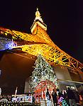 November 3, 2012, Tokyo, Japan - A 15-meter-tall Christmas tree is brightly illuminated with 120,000 LEDs at the foot of Tokyo Tower on Saturday, November 3, 2012, greeting the arrival of the Christmas season.  (Photo by Natsuki Sakai/AFLO)