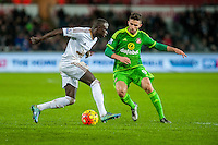 Modou Barrow of Swansea takes the ball past Fabio Borini of Sunderland  during the Barclays Premier League match between Swansea City and Sunderland played at the Liberty Stadium, Swansea  on  January the 13th 2016