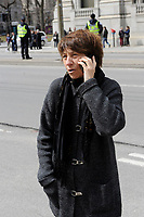 Francoise David attend Claire Kirkland-Casgrain's  funeral, April2nd, 2016.<br /> <br /> <br /> Photo : Michel Karpoff <br /> - Agence Quebec Presse