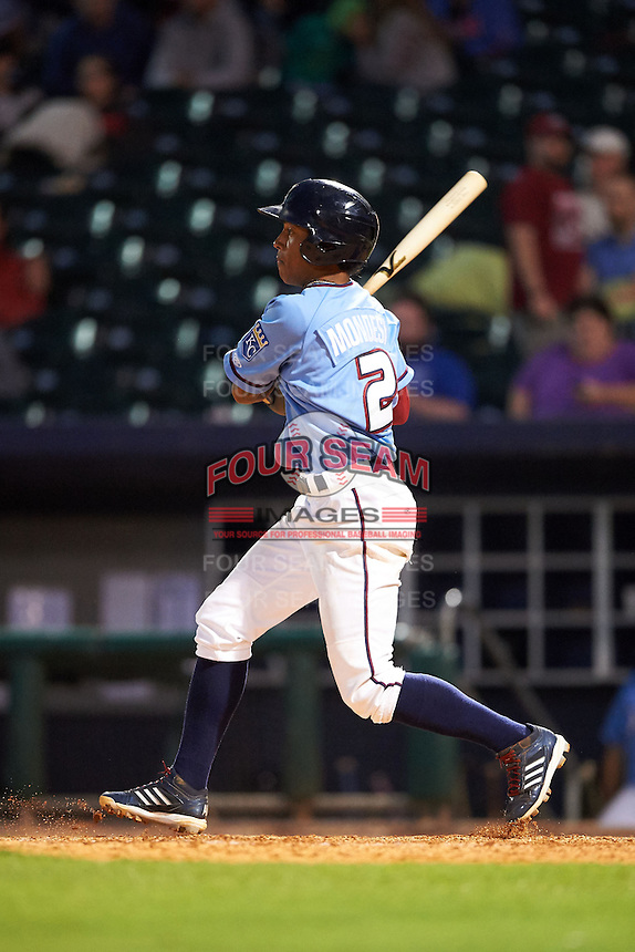 NW Arkansas shortstop Raul Mondesi (2) at bat during a game against the San Antonio Missions on May 30, 2015 at Arvest Ballpark in Springdale, Arkansas.  San Antonio defeated NW Arkansas 5-2.  (Mike Janes/Four Seam Images)