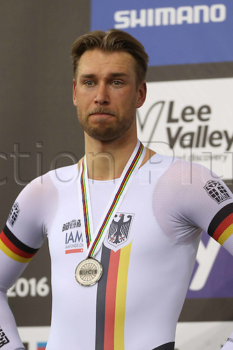 05.03.2016. Lee Valley Velo Centre, London, England. UCI Track Cycling World Championships Mens Omnium.  KLUGE Roger (GER) finished in 2nd place/silver