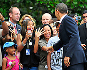 United States President Barack Obama shakes hands with well-wishers as he departs the South Lawn of the White House in Washington, D.C. on Monday, August 3, 2010.  The President is traveling to Atlanta, Georgia to speak at the national convention of Disabled American Veterans. .Credit: Ron Sachs / Pool via CNP