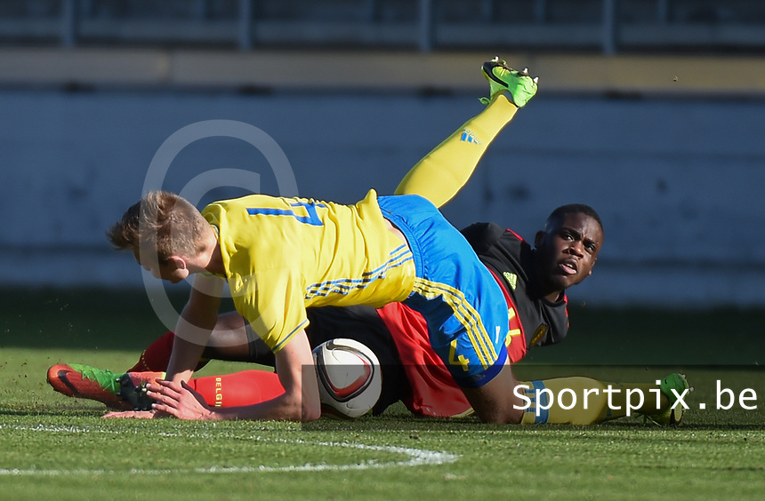 20170323 - BEVEREN , BELGIUM : Swedish Marcus Degerlund (4) and Belgian Orel Mangala (L) pictured during the UEFA Under 19 Elite round game between Sweden U19 and Belgium U19, on the first matchday in group 7 of the Uefa Under 19 elite round in Belgium , thursday 23 th March 2017 . PHOTO SPORTPIX.BE | DIRK VUYLSTEKE