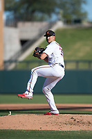 Salt River Rafters relief pitcher Hector Lujan (35), of the Minnesota Twins organization, delivers a pitch during an Arizona Fall League game against the Surprise Saguaros at Salt River Fields at Talking Stick on November 5, 2018 in Scottsdale, Arizona. Salt River defeated Surprise 4-3 . (Zachary Lucy/Four Seam Images)
