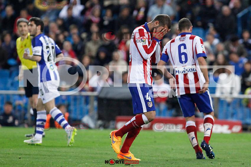 Atletico de Madrid´s Mario Suarez reacts after missing a chance during La Liga match at Vicente Calderon stadium in Madrid, Spain. April 07, 2015. (ALTERPHOTOS/Victor Blanco) /NORTEphoto.com