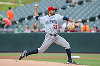 Bowie, MD - May 21, 2017: Binghamton Rumble Ponies pitcher Casey Delgado (21) throws a strike during the MiLB game between Binghamton and Bowie at  Baysox Stadium in Bowie, MD.  (Photo by Elliott Brown/Media Images International)