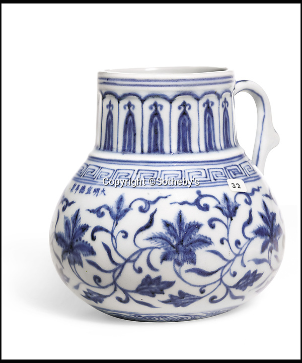 BNPS.co.uk (01202 558833)<br /> Pic: Sothebys/BNPS<br /> <br /> Xuande period tankard £825,000.<br /> <br /> A collection of Chinese antiques that a farmer paid as little as £100 per item for has sold for a whopping £45.9 million.<br /> <br /> The late Roger Pilkington accumulated about 100 pieces of exquisite Chinese ceramics in the late 1950s and early '60s <br /> <br /> He died in 1969 aged just 40. His 'time capsule' collection has remained in his family ever since and they have now sold it at auction.<br /> <br /> Leading the sale was a 9ins tall 15th century blue and white Moon Flask which sold for a £10.1m.