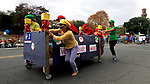 WATERBURY, CT - 08 OCTOBER 2017 -101417JW08.jpg -- The West Side Middle School team races down Grand Street during the 2017 United Way Bed Race Fundraiser Saturday morning. Jonathan Wilcox Republican-American
