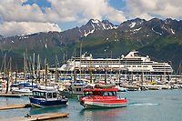 Holland America cruise liner Ryndam in the Seward municipal boat Harbor, Seward, Alaska.